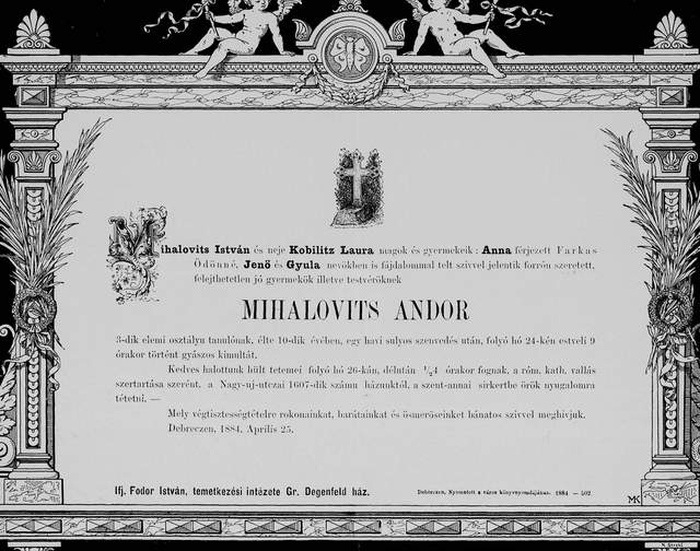 Nekrologi węgierskie z lat 1840-1990 ozdobny