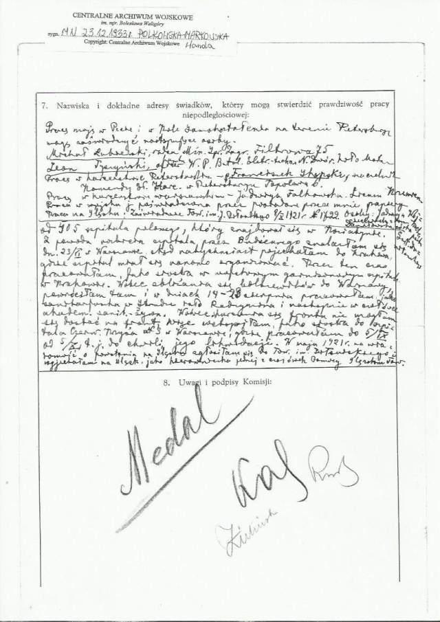 Wanda Polkowska-Markowska Wnioski o Medal Niepodległości 2