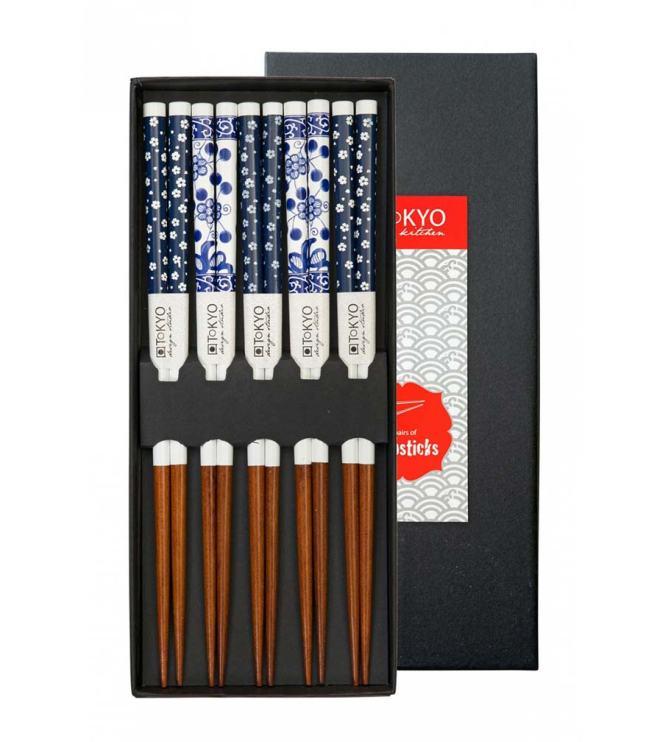 Essstäbchen - Chop Sticks - mit blau-weißem Blumenmuster