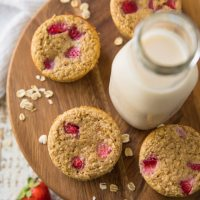 Flourless Strawberry Banana Oat Protein Muffins