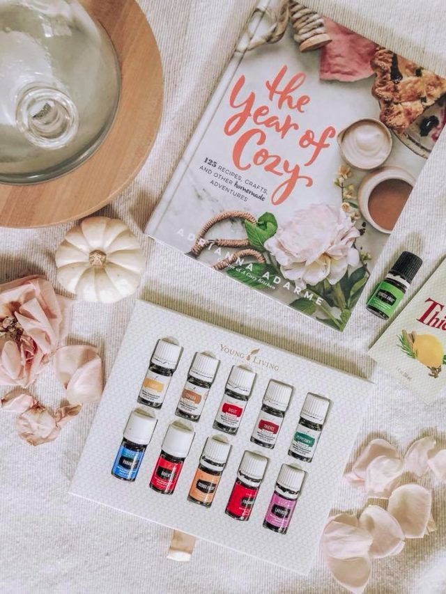 essential oils package with diffuser and The Year of Cozy book