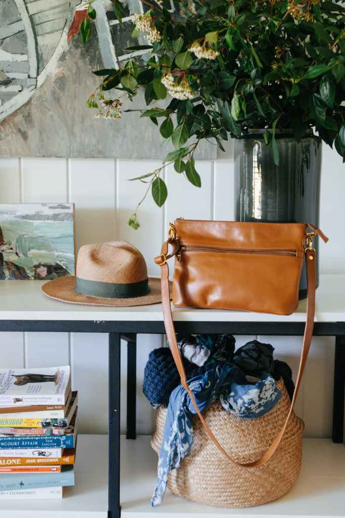 shoulder bag and hat on table in room