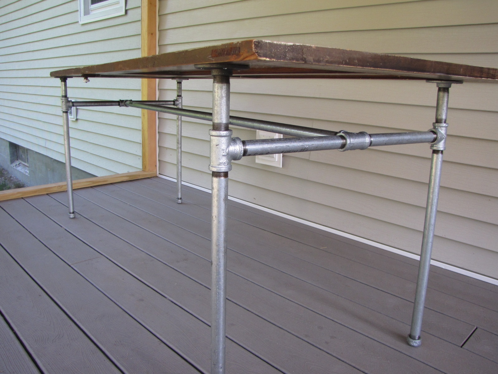 Diy Table Made From An Old Door And Galvanized Pipe   Diy Galvanized Pipe Handrail   Simple Pipe   Water Pipe   Paint Pipe   Galvanized Balustrade Steel   Outdoor Pipe