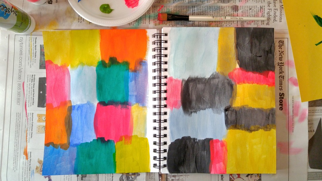 Art journal background, acrylic paint.