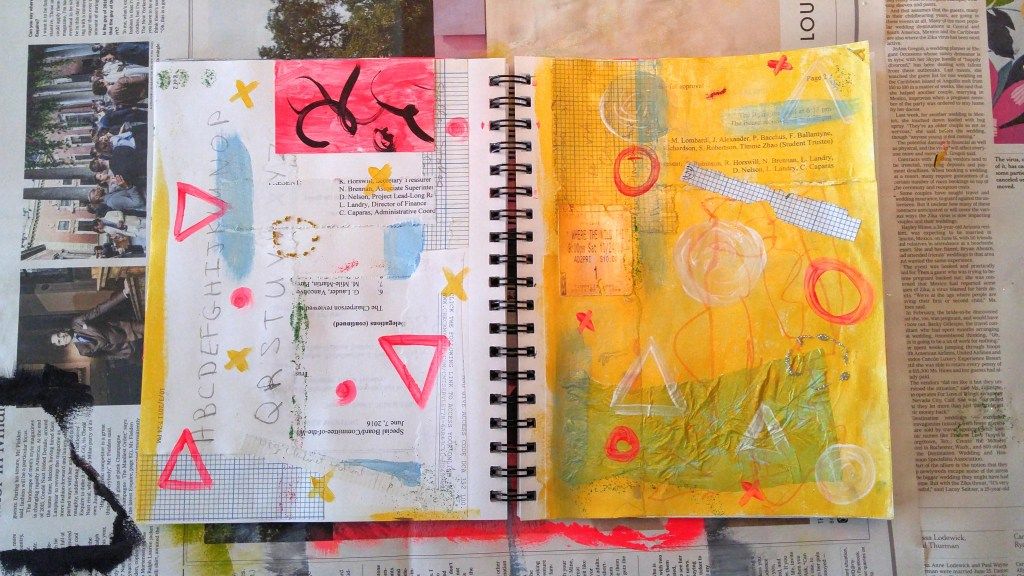 Art journaling with collage! Daily Art Journal at http://kimwerker.com/blog