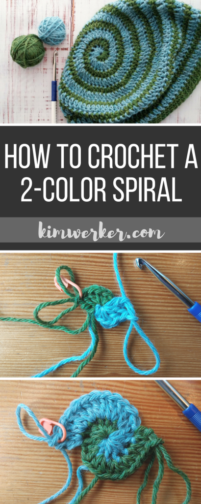 How to Crochet a 2-color Spiral: Tutorial from https://www.kimwerker.com/blog