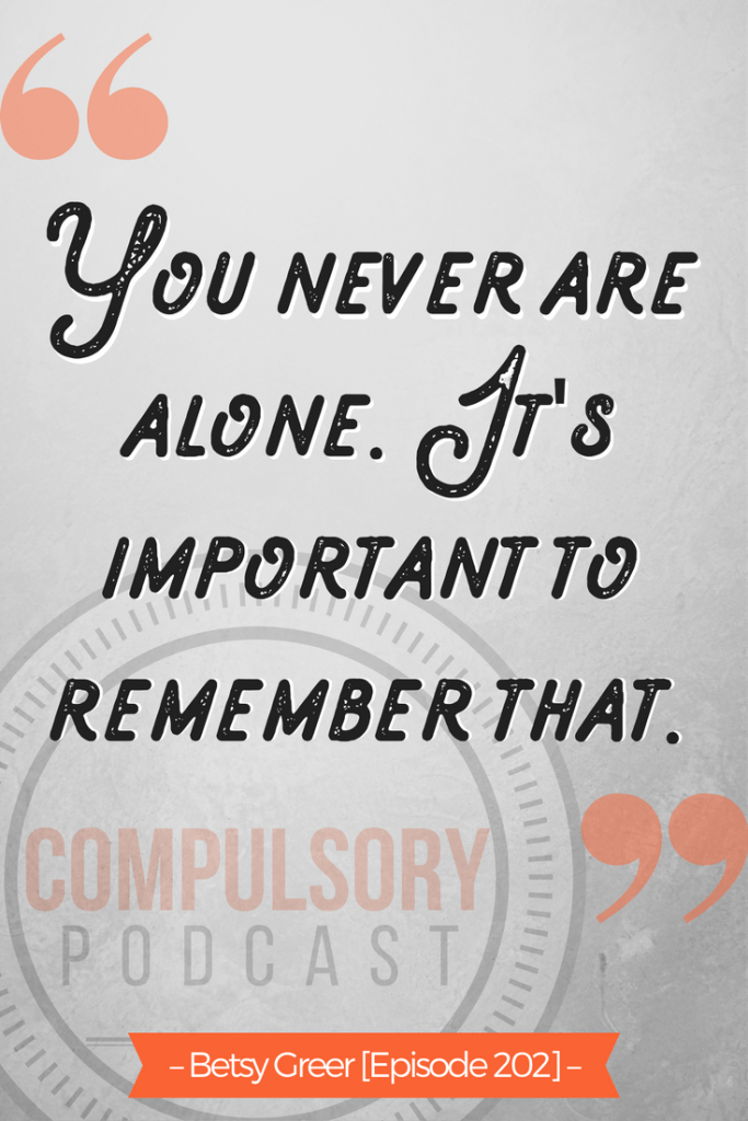 """""""You never are alone. It's important to remember that."""" – Author and craftivist Betsy Greer on Compulsory Podcast. https://www.kimwerker.com/topics/podcast"""