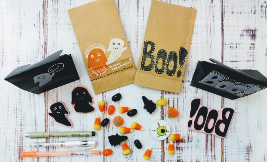 Hand-Stamped Halloween Treat Bags – Free Template in the free trial for Stamp Camp, https://classes.kimwerker.com/courses/stamp-camp