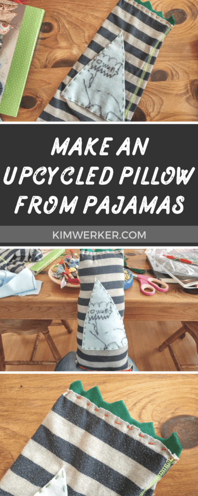 Make a DIY upcycled pillow out of old or outgrown pajamas. So fun! – http://kimwerker.com/blog