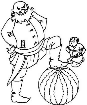 Colour in stories: fruits for kids. Colouring fruit pages