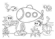 Ausmalbilder für Kinder mit Unterwasser-Szenen