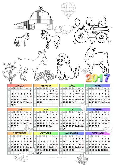 Ausmalen Jahreskalender Monatskalender 2017