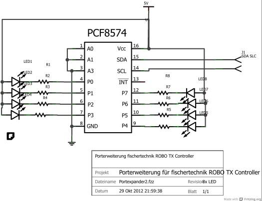 Portexpander PCF8574 LED Ausgänge