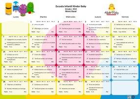 Menú basal octubre 2019 Guardería Kinder Baby