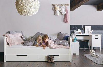 Woood Jade bedbank 90x200 grenen wit  Kinderbeddenstore