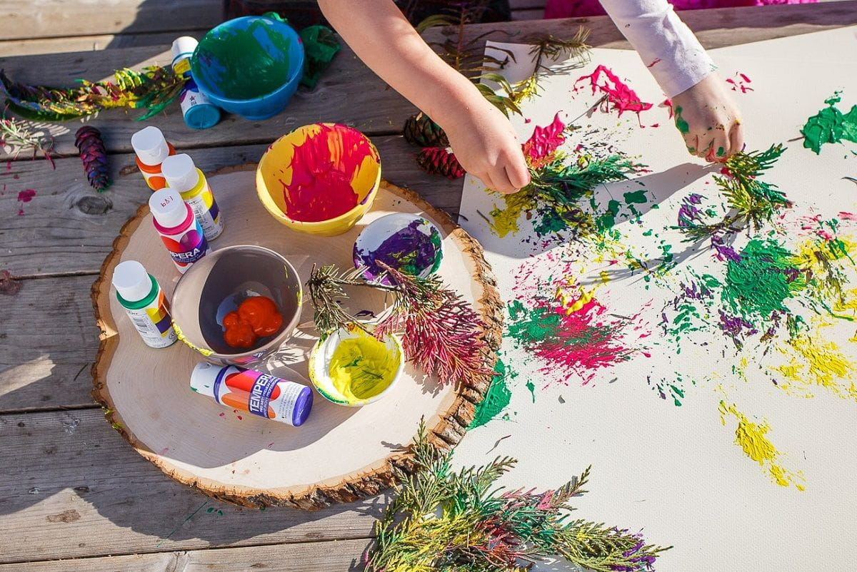 Nature Art Activities For Toddlers Painting With Leaves