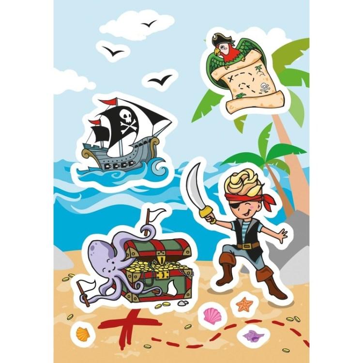 24x Piraten en schatkisten figuren stickers