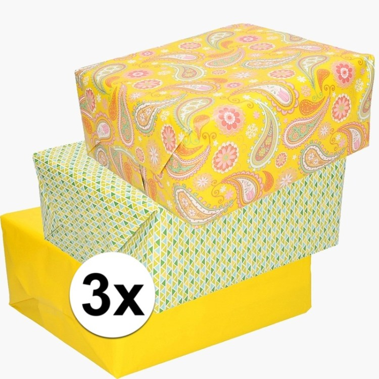 3x inpakpapier pakket thema Pasen