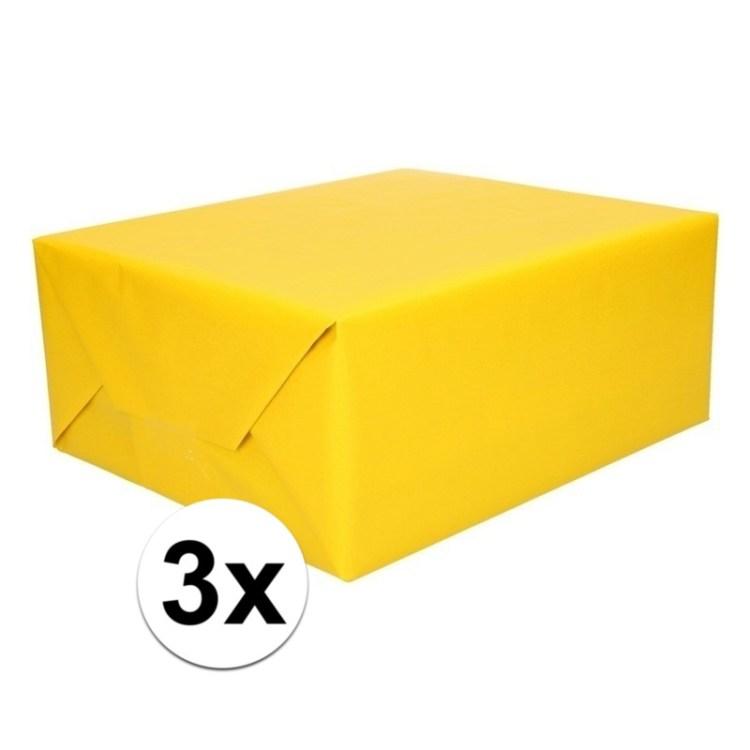 3x Kadopapier geel op rol