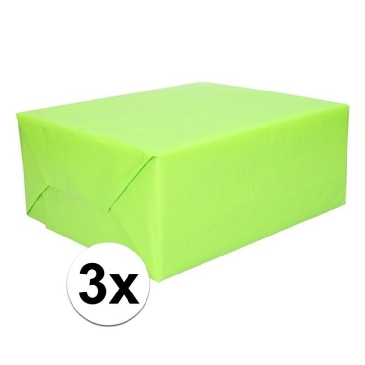 3x Kadopapier limegroen op rol