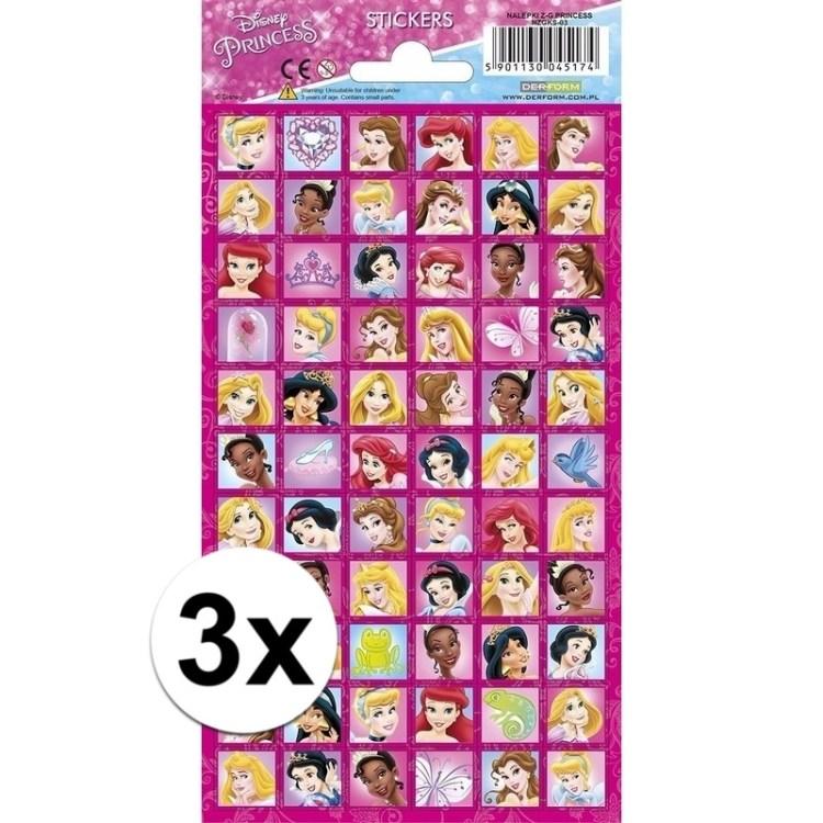 3x Stickersetje prinsessen gezichten