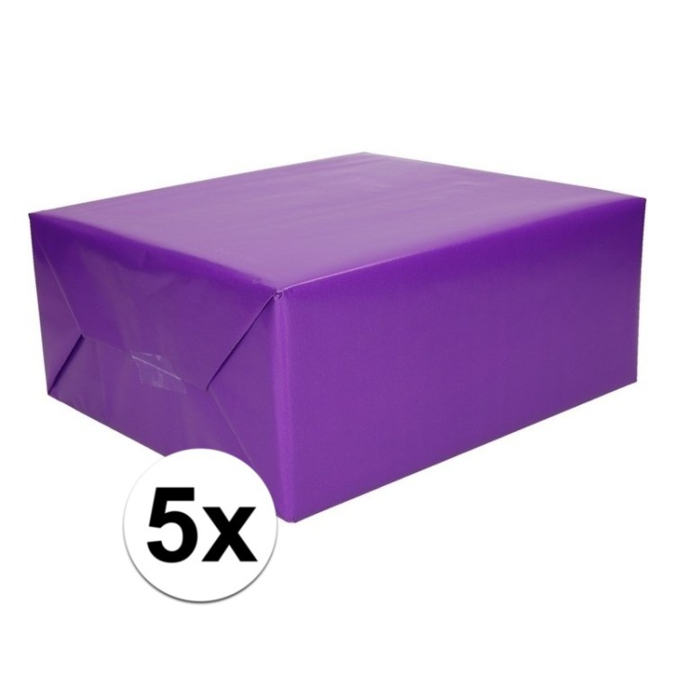 5x Kadopapier paars op rol