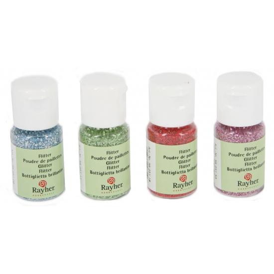 Hobby materiaal glitterflesje zilver 10 ml
