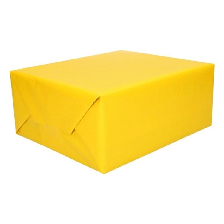 Inpakpapier/cadeaupapier fel geel 200 x 70 cm op rol