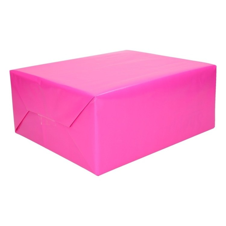 Inpakpapier/cadeaupapier fuchsia roze 200 x 70 cm op rol