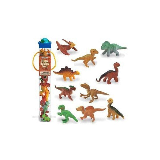 Koker met plastic dinosaurus babies