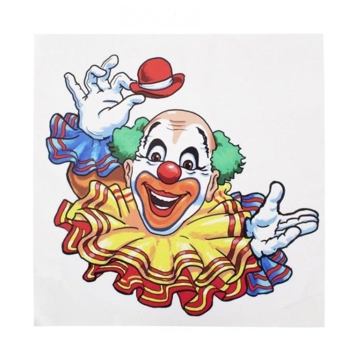 Raamsticker lachende clown 35 x 40 cm carnaval