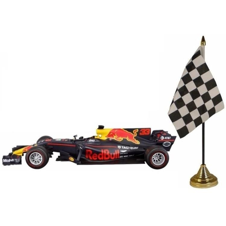 Red Bull F1 wagen RB13 Max Verstappen 1:43 met finish tafel vlaggetje