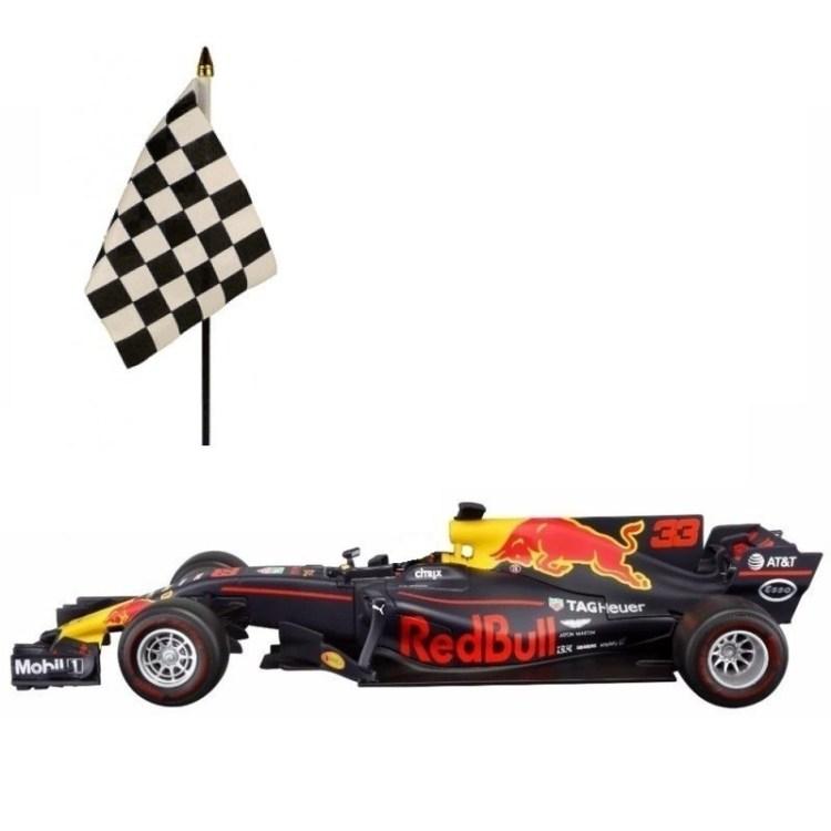 Red Bull F1 wagen RB13 Max Verstappen 1:43 met finish zwaai vlaggetje