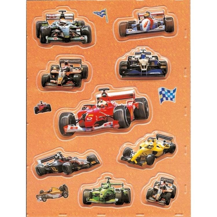 Stickervel verschillende 3D race wagens