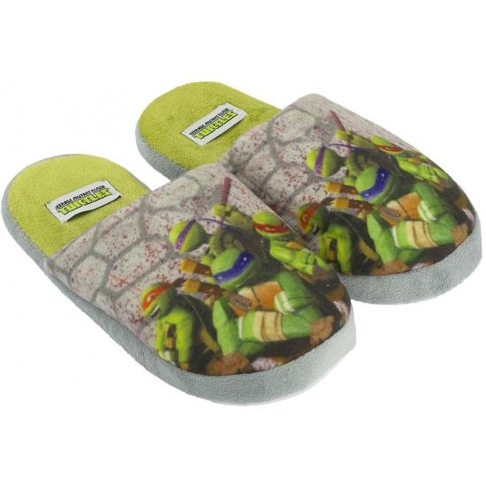 Warme kinder pantoffels Turtles grijs