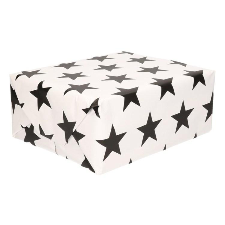 Wit papier met zwarte sterren op rol 200 cm