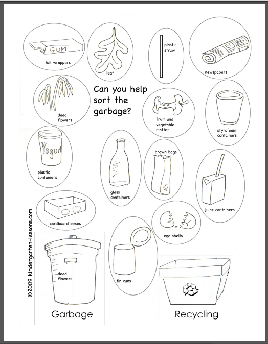 Recycling For Kids 2 Kindergarten Lessons