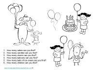Birthday Counting Worksheets