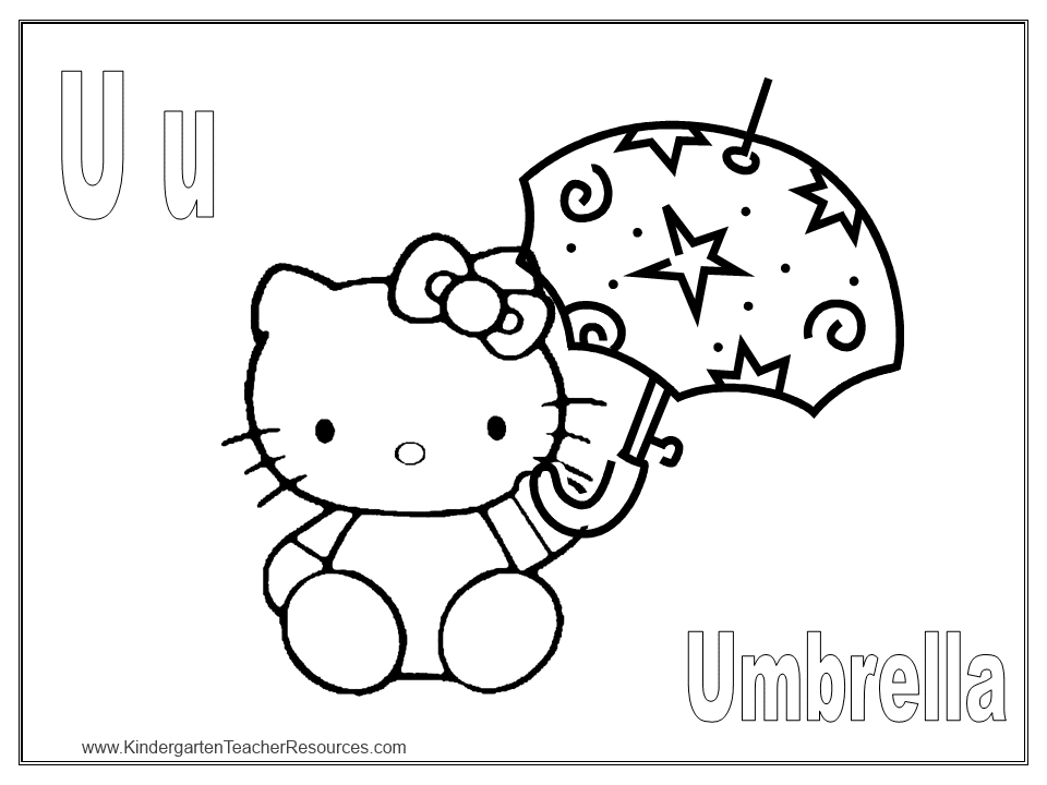 U Is For Umbrella Coloring Page