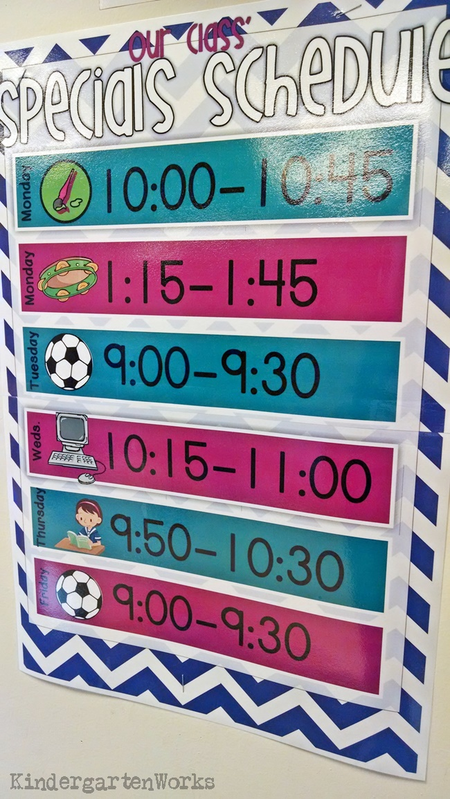 Weekly Specials Schedule Poster KindergartenWorks