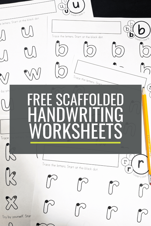 small resolution of Free Scaffolded Handwriting Worksheets for Kindergarten: Lowercase a-z –  KindergartenWorks