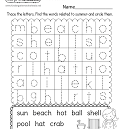Free Kindergarten Summer Worksheets - Keeping Kids Learning in the Summer [ 1035 x 800 Pixel ]