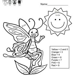 Addition Coloring Worksheet - Free Kindergarten Math Worksheet for Kids [ 1035 x 800 Pixel ]