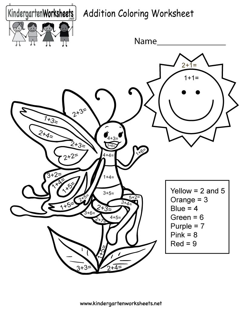 medium resolution of Addition Coloring Worksheet - Free Kindergarten Math Worksheet for Kids