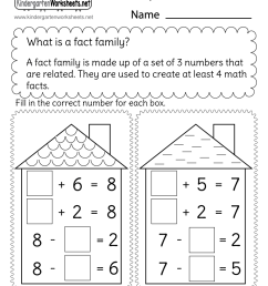 Free Printable Addition and Subtraction Fact Family Worksheet [ 1035 x 800 Pixel ]