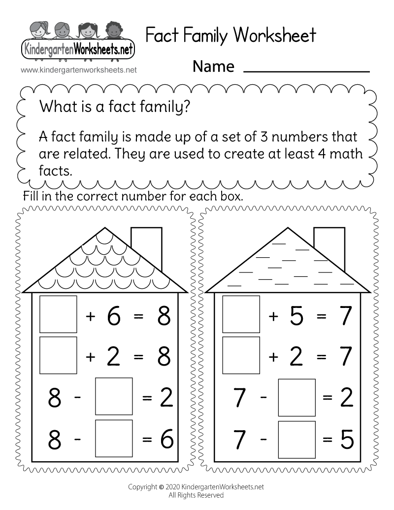 hight resolution of Free Printable Addition and Subtraction Fact Family Worksheet