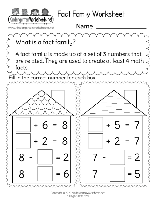 small resolution of Free Printable Addition and Subtraction Fact Family Worksheet
