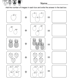 Basic Addition Worksheet - Free Kindergarten Math Worksheet for Kids [ 1035 x 800 Pixel ]