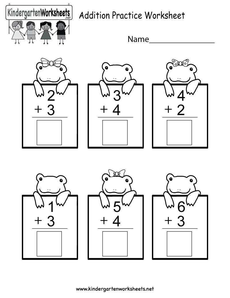 Free Printable Practice Adding Math Worksheet for Kindergarten
