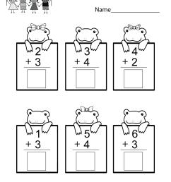 Practice Adding Math Worksheet - Free Kindergarten Worksheet for Kids [ 1035 x 800 Pixel ]